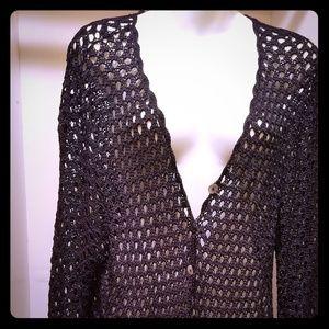Crochet Black Cardigan 2XL